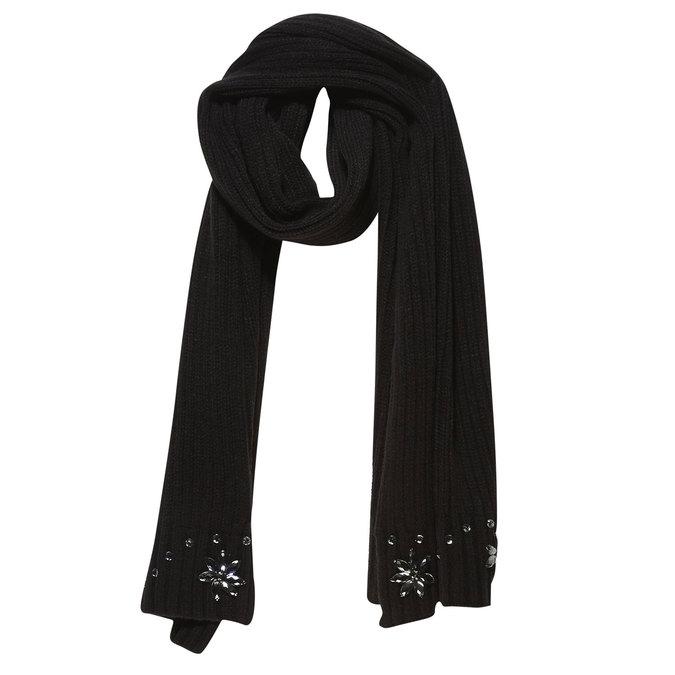 Pletený šál s kamienkami bata, čierna, 909-6309 - 13