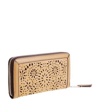 Dámska peňaženka s perforáciou bata, hnedá, 941-3131 - 13
