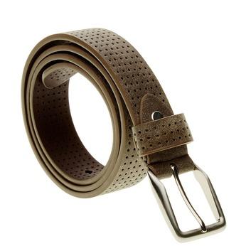Pánský kožený opasok s perforáciou bata, hnedá, 954-4232 - 13