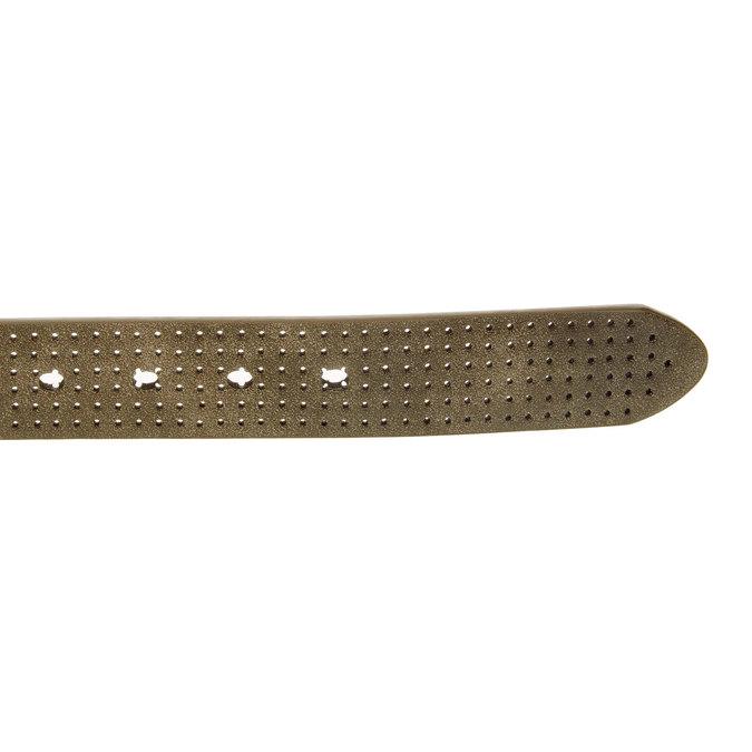 Pánský kožený opasok s perforáciou bata, hnedá, 954-4232 - 16