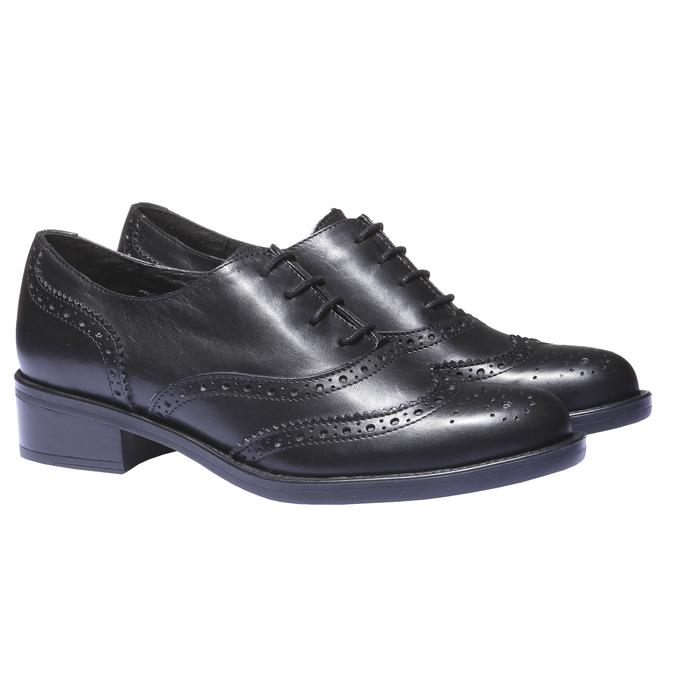 Kožené dámske poltopánky bata, čierna, 524-6185 - 26
