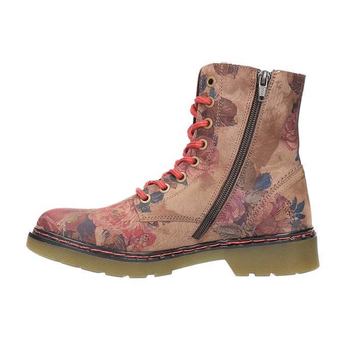 Kožená členková obuv s kvetinovým vzorom bata, ružová, 596-5609 - 26