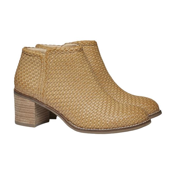 Členkové čižmy v pletenom designe bata, hnedá, 691-8273 - 26