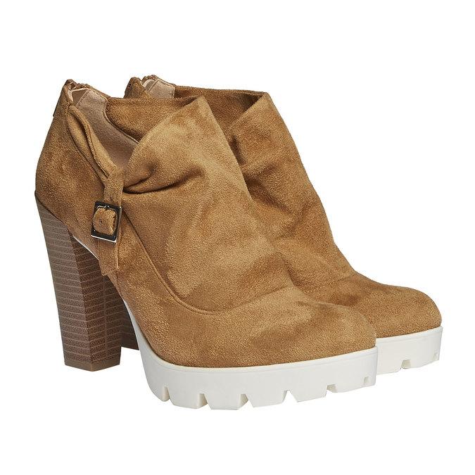 Členkové čižmy s výraznou podrážkou bata, hnedá, 799-3630 - 26
