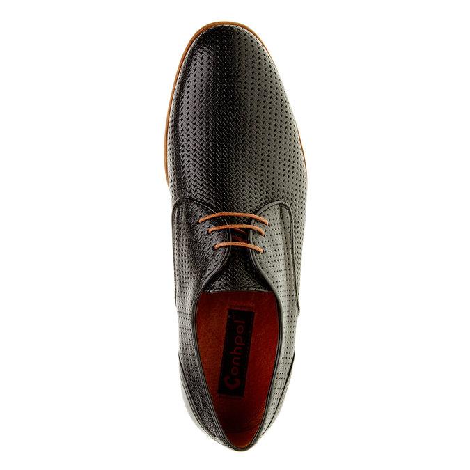Kožené poltopánky s pleteným vzorom conhpol, čierna, 826-6300 - 19