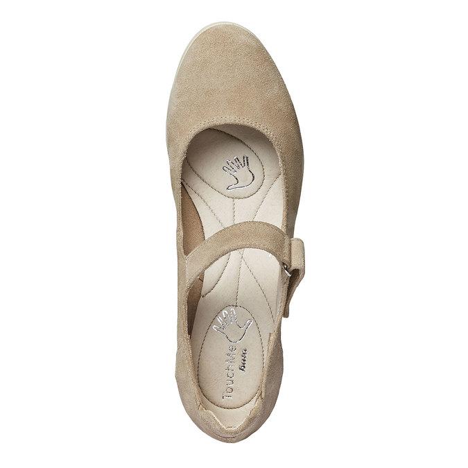 Kožené lodičky na klinovom podpätku bata-touch-me, béžová, 623-8392 - 19