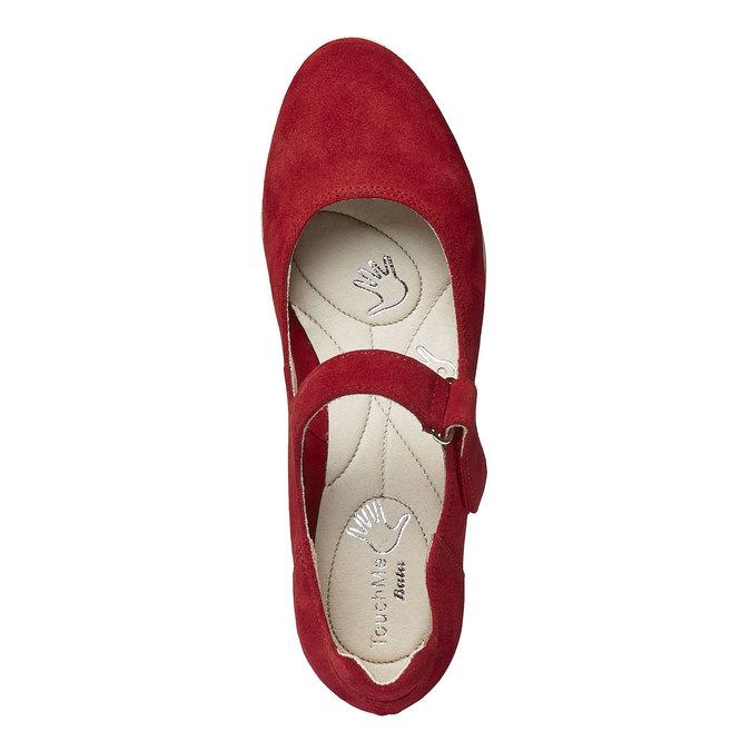 Kožené lodičky na klinovom podpätku bata-touch-me, červená, 623-5392 - 19