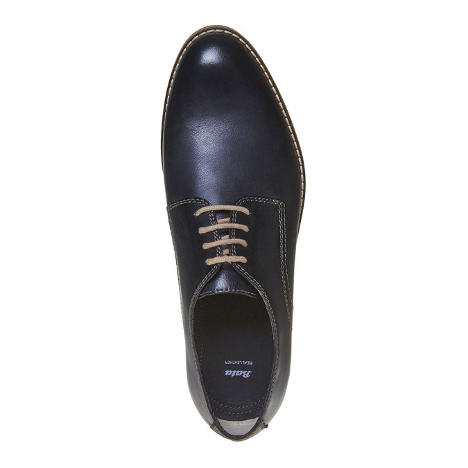 Kožené poltopánky v Derby strihu bata, modrá, 824-9745 - 19