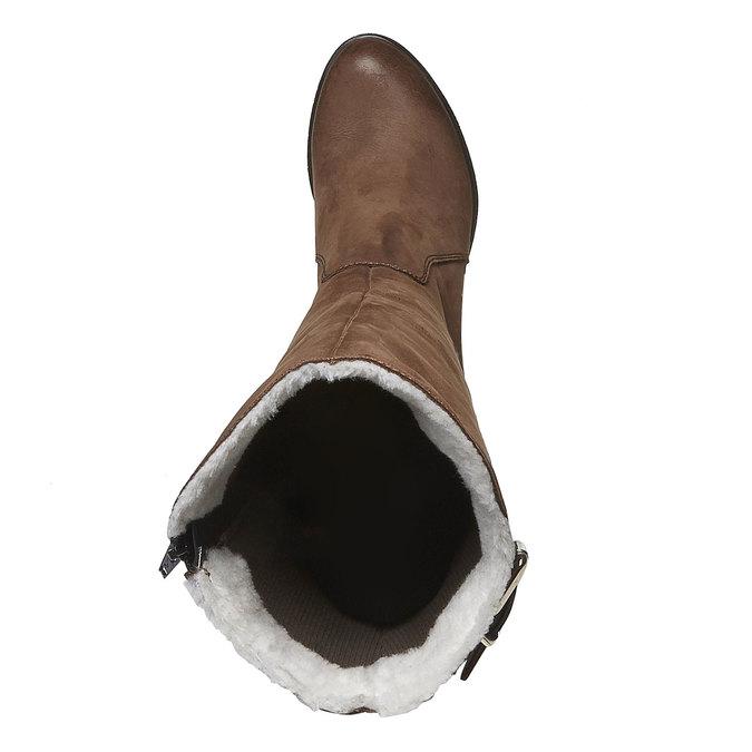 Kožené čižmy na podpätku bata, hnedá, 796-3100 - 19