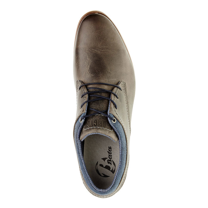 Módne kožené poltopánky bata, hnedá, 824-2102 - 19
