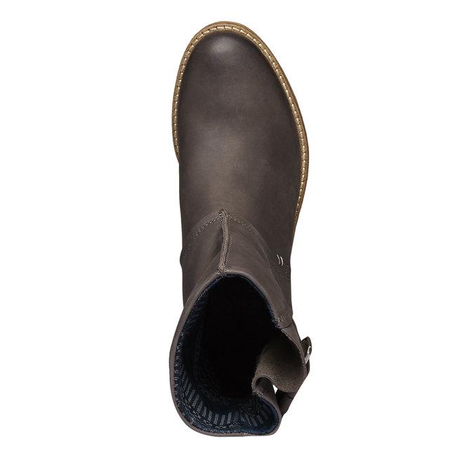 Vysoké kožené topánky bata, šedá, 596-6104 - 19