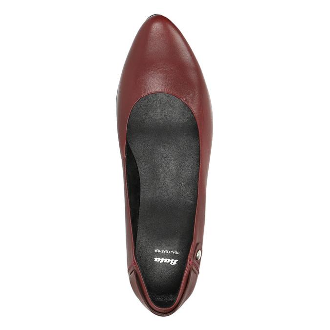 Kožené lodičky na nízkom podpätku bata, červená, 624-5603 - 19