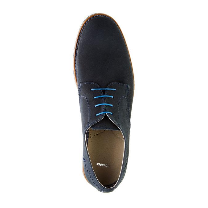 Kožené poltopánky s farebnou podrážkou bata, modrá, 826-9839 - 19