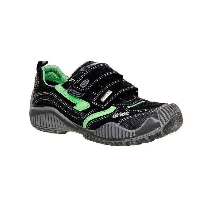 Detské kožené tenisky na suchý zips mini-b, čierna, 413-6130 - 13