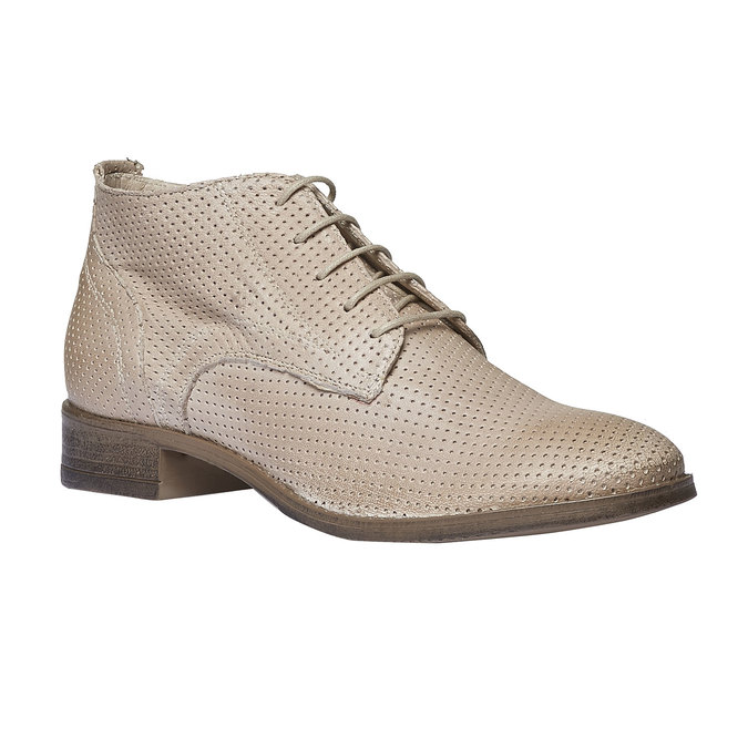 Dámske kožené členkové topánky bata, béžová, 524-8468 - 13