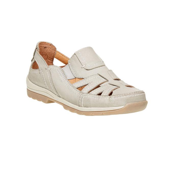 Neformálne kožené poltopánky bata, béžová, 524-3116 - 13