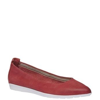 Kožené baleríny s perforáciou bata, červená, 526-5486 - 13