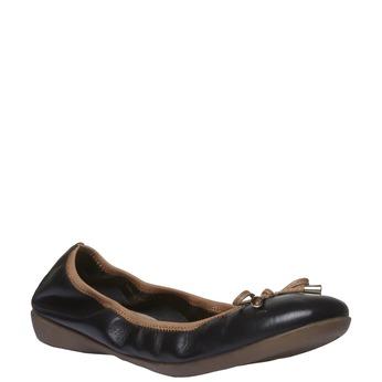 Čierne kožené baleríny bata, čierna, 524-6485 - 13