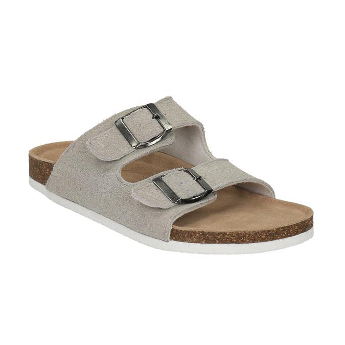 Dámske kožené papuče de-fonseca, béžová, 573-8620 - 13