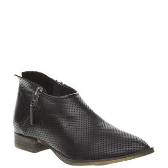 Kožené členkové čižmy s perforáciou bata, čierna, 594-6400 - 13