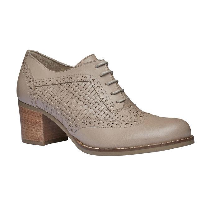 Kožené poltopánky na podpätku bata, béžová, 624-8386 - 13