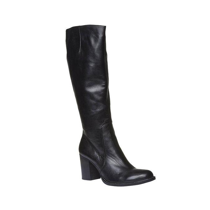 Kožené čižmy na širokom podpätku bata, čierna, 794-6112 - 13