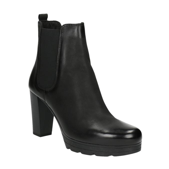 Kožená členková obuv na vysokom podpätku bata, čierna, 796-6604 - 13