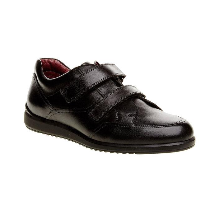 Ležérne kožené poltopánky na suchý zips comfit, čierna, 814-6768 - 13
