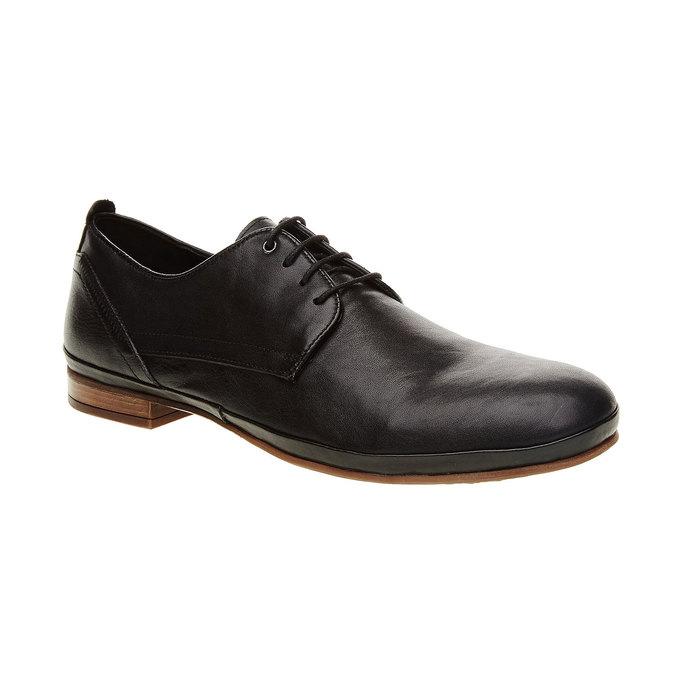 Kožené poltopánky v Derby strihu bata, čierna, 824-6300 - 13