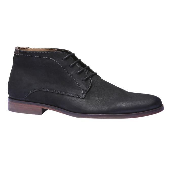 Kožená obuv v štýle chukka bata, čierna, 844-6171 - 13