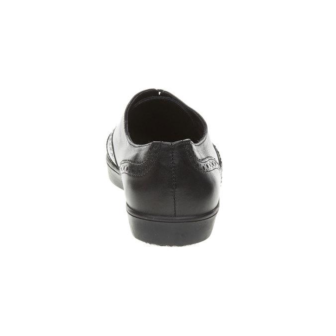 Kožené poltopánky so zdobením bata, čierna, 524-6463 - 17