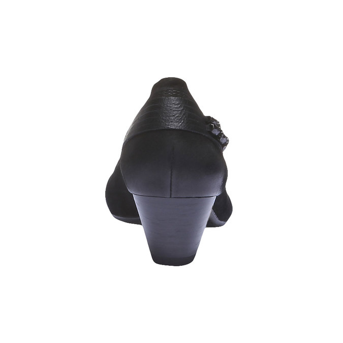 Kožené lodičky na nízkom podpätku bata, čierna, 626-6102 - 17