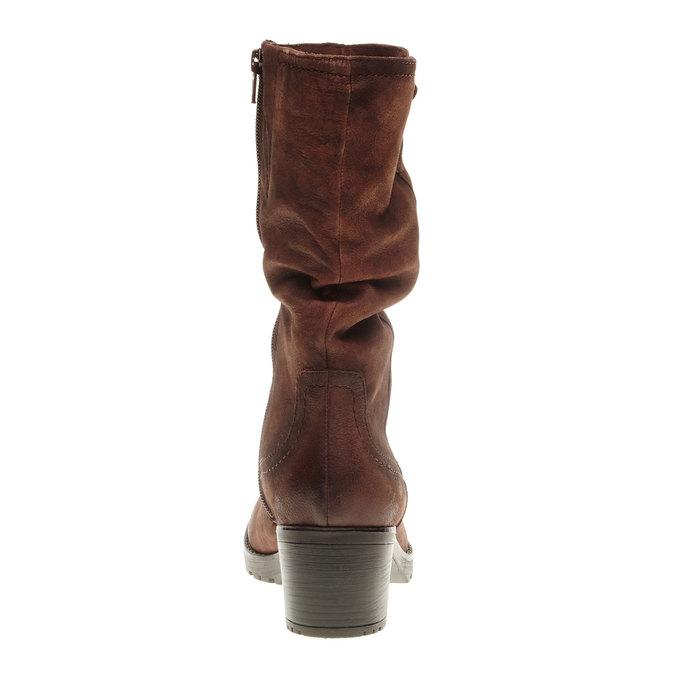 Kožené čižmy na stabilnom podpätku bata, hnedá, 696-4127 - 17