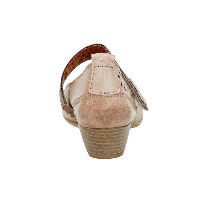 Kožené lodičky s remienkom bata, hnedá, 624-3103 - 17