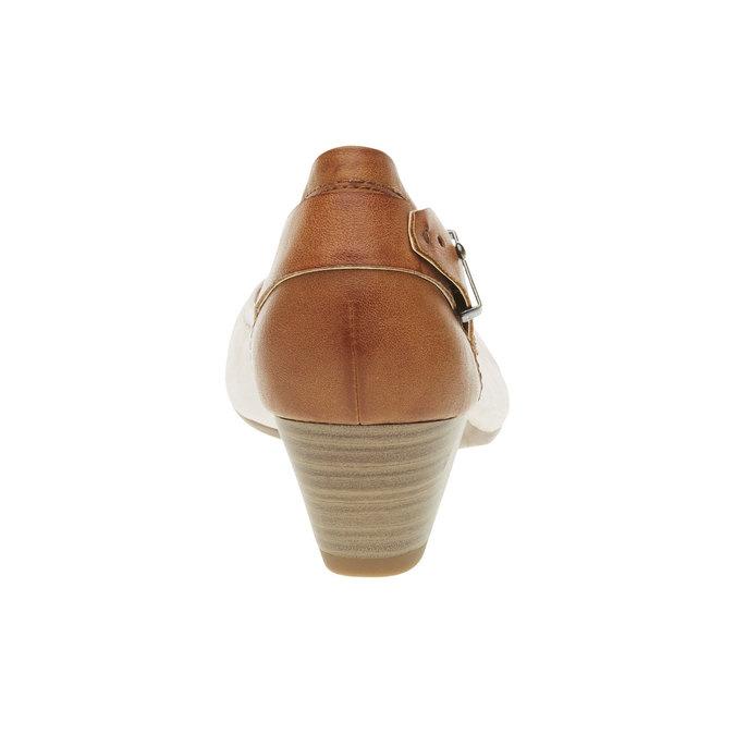 Kožené lodičky s remienkom bata, béžová, 624-5391 - 17