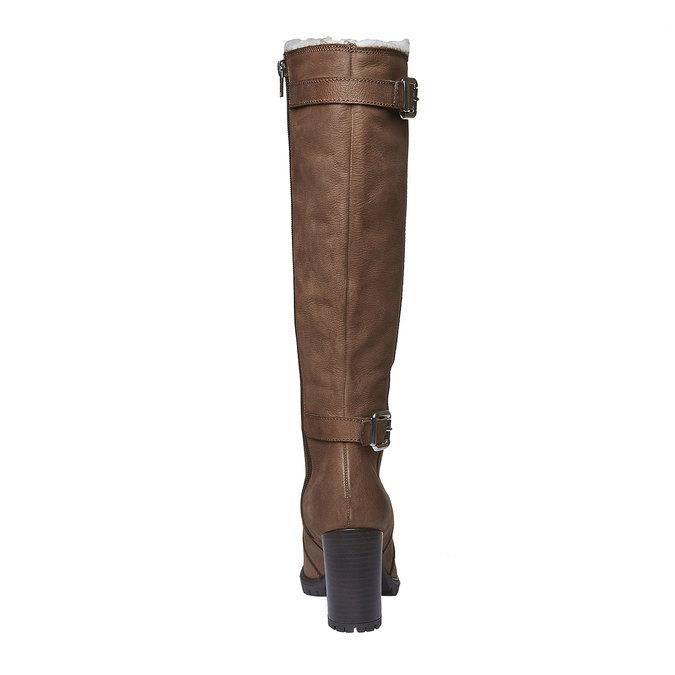 Kožené čižmy na podpätku bata, hnedá, 796-3100 - 17