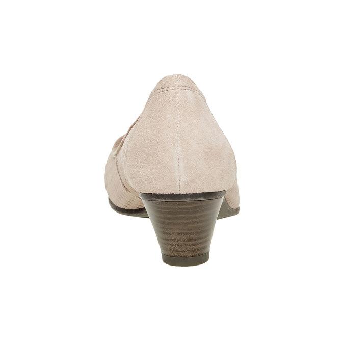 Kožené lodičky s perforáciou bata, hnedá, 723-3100 - 17