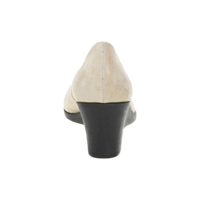 Kožené lodičky na klinovom podpätku flexible, béžová, 623-8395 - 17