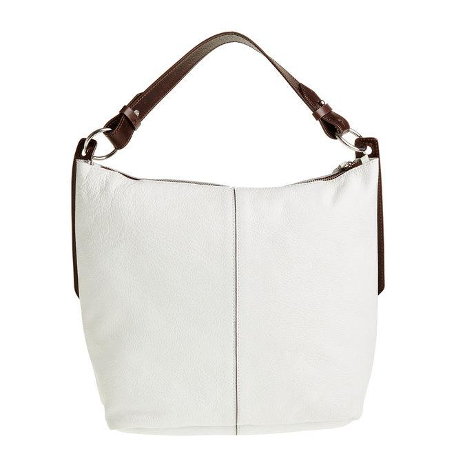 Kožená kabelka v Hobo štýle bata, biela, 964-1176 - 26
