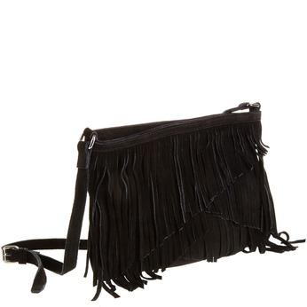 Kožená Crossbody kabelka so strapcami bata, čierna, 963-6120 - 13