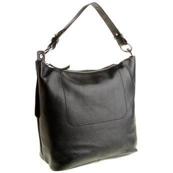 Kožená kabelka v Hobo štýle bata, čierna, 964-6176 - 13