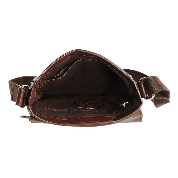 Pánska kožená taška cez telo bata, hnedá, 964-4181 - 15