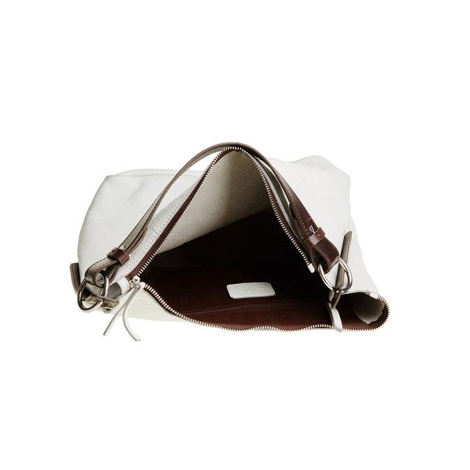 Kožená kabelka v Hobo štýle bata, biela, 964-1176 - 15