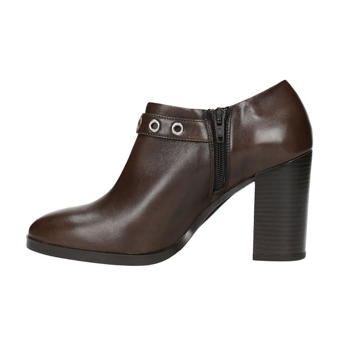 Kožené poltopánky na širokom podpätku bata, hnedá, 794-4636 - 26