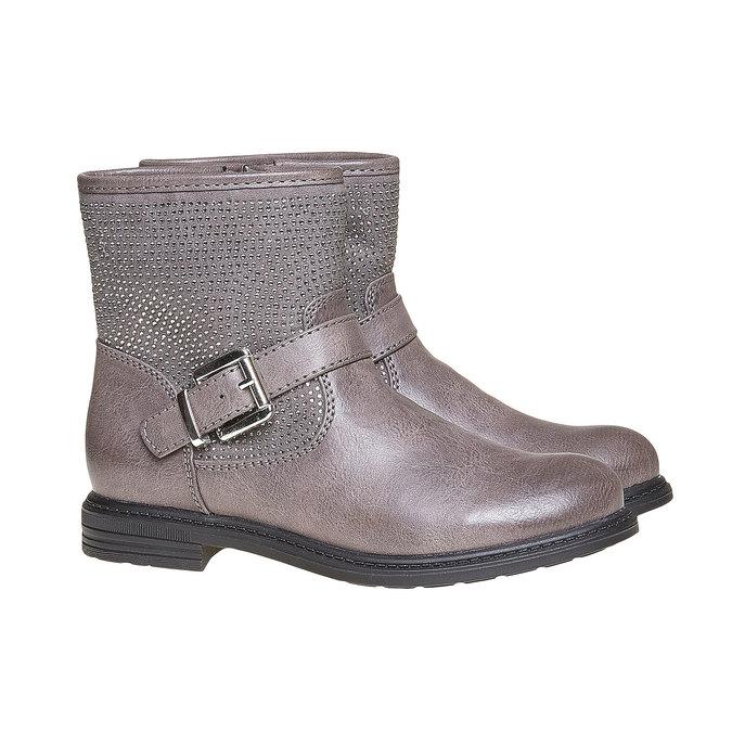 Detská členková obuv s kamienkami mini-b, šedá, 391-2249 - 26