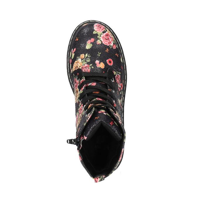 Dievčenská členková obuv s kvetinovým vzorom mini-b, čierna, 321-9600 - 19