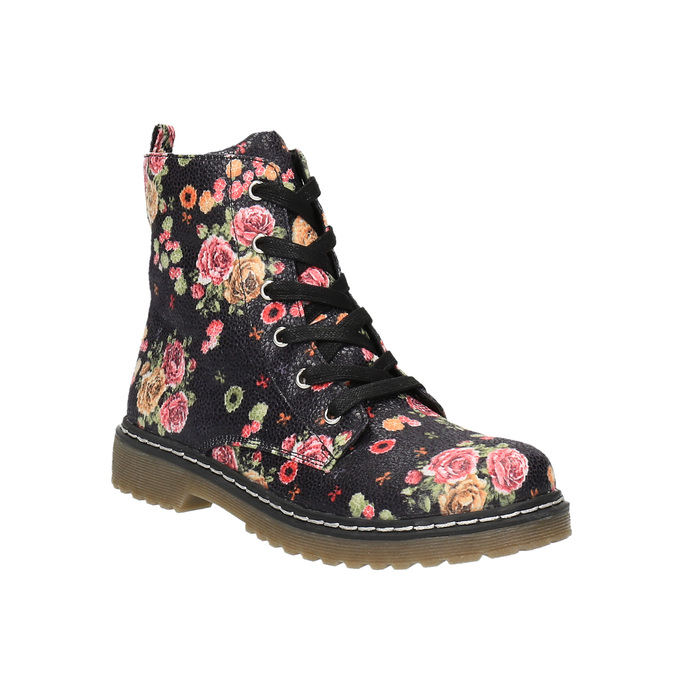 Dievčenská členková obuv s kvetinovým vzorom mini-b, čierna, 321-9600 - 13