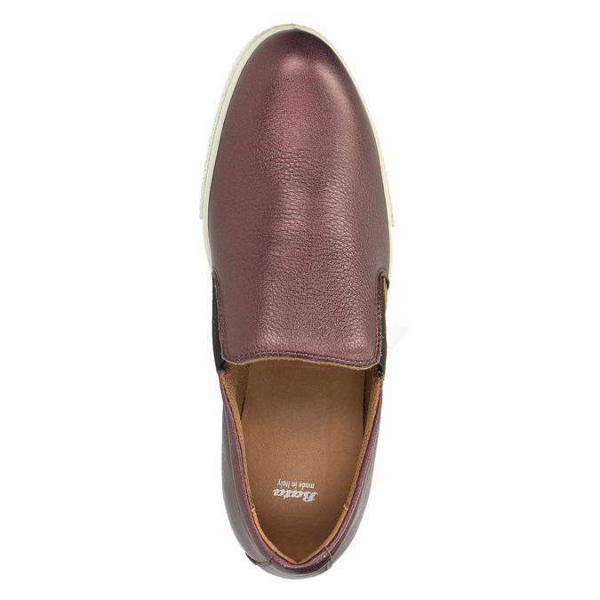 Kožené Slip-on na širokej podrážke bata, fialová, 526-5605 - 19