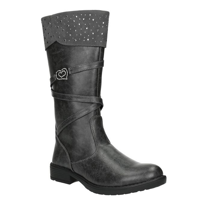 Dievčenské čižmy s kamienkami mini-b, šedá, 391-2601 - 13