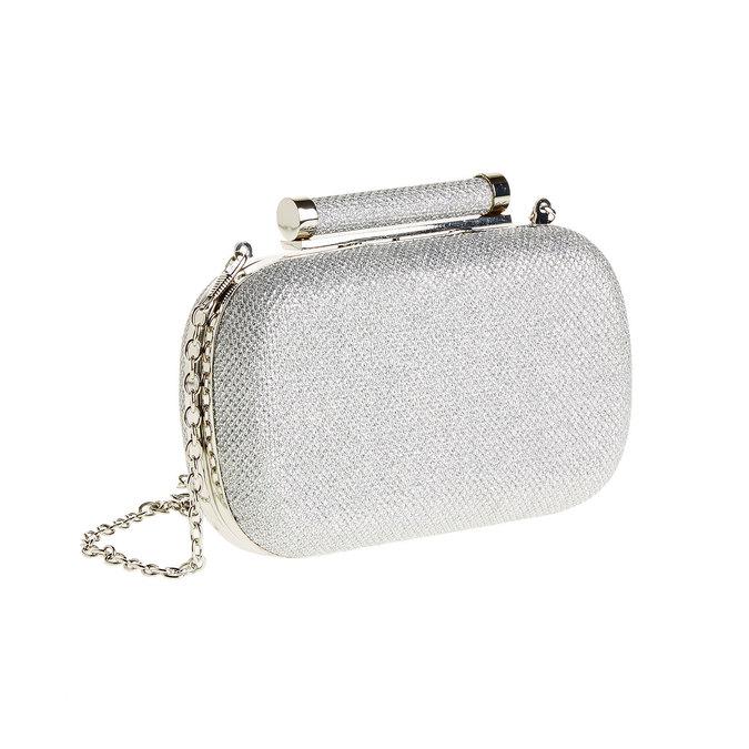 Listová kabelka v štýle Miniaudière bata, biela, 969-1351 - 13